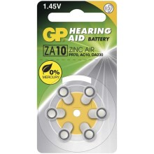6 ks Baterie do naslouchadel ZA10 GP HEARING AID 1,45V/90 mAh