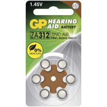 6 ks Baterie do naslouchadel ZA312 GP HEARING AID 1,45V/160 mAh
