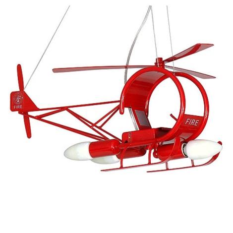 Dětský lustr Helikoptéra 3xE14/60W červená