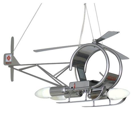 Dětský lustr Helikoptéra 3xE14/60W stříbrná