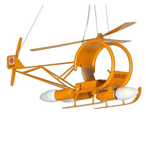 Dětský lustr Helikoptéra 3xE14/60W žlutá