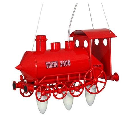 Dětský lustr Lokomotiva 3xE14/60W červená