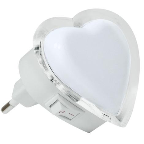LED Noční světlo do zásuvky LED/0,4W/230V bílé srdce
