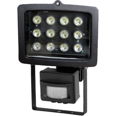 LED Reflektor s PIR čidlem T301 12xLED/12W/230V černý
