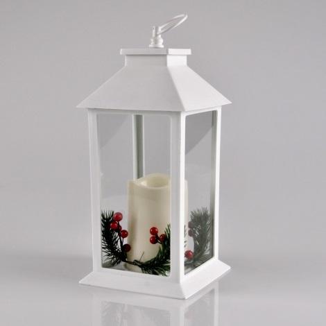 LED Vánoční dekorace LED/3xAAA lucerna bílá svíčka