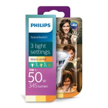 LED Žárovka Philips SCENE SWITCH GU10/5W/230V 2200K-2700K