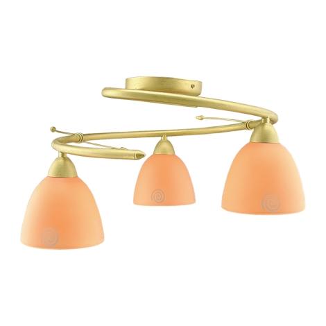 Lustr přisazený ROTO zlatá/oranžové sklo