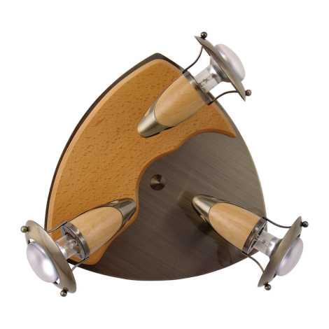 Lustr přisazený ZEUS patina/světlé dřevo