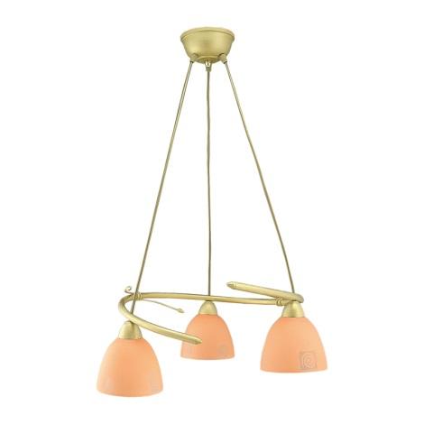 Lustr ROTO 3xE27/60W zlatá/oranžová