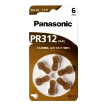 Panasonic - 6 ks Baterie do naslouchadel PR-312 1,4V