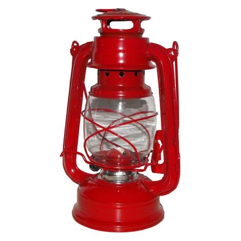 Petrolejová lampa 24 cm červená