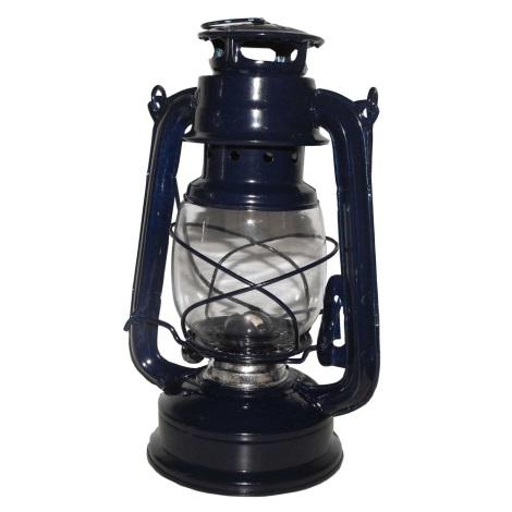 Petrolejová lampa 24 cm modrá