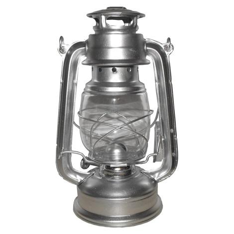 Petrolejová lampa 24 cm stříbrná