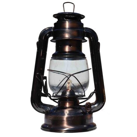 Petrolejová lampa 24cm měď