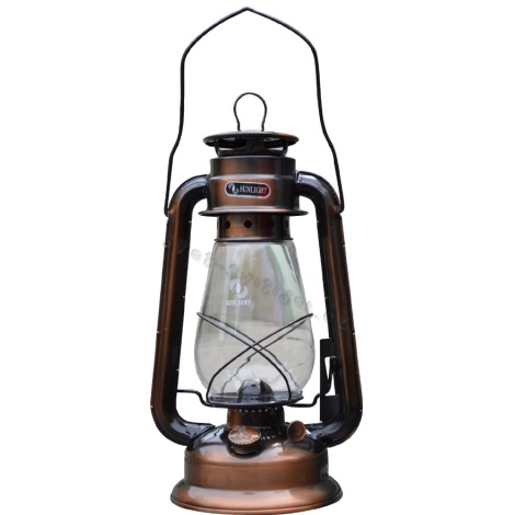 Petrolejová lampa 30cm měď