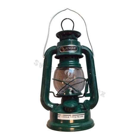 Petrolejová lampa zelená