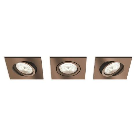 Philips 50393/05/P0 - SADA 3x LED Stmívatelné podhledové svítidlo SHELLBARK 3xLED/4,5W/230V