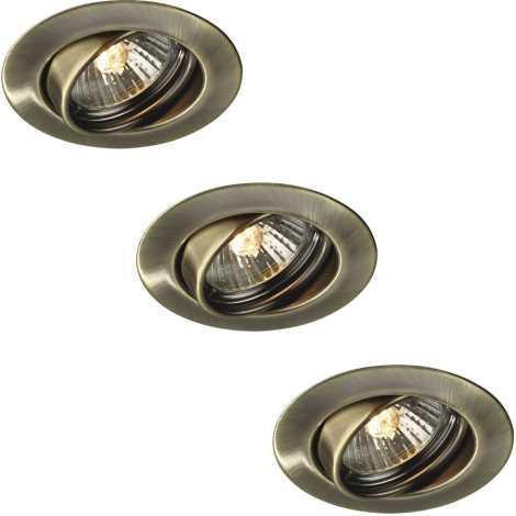 Philips Massive 59333/06/10 - SADA 3x Koupelnové podhledové svítidlo OPAL 3xGU10/50W/230V bronzová