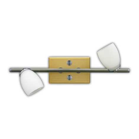 Rampa QUART 2xG9 matný chrom/světlé dřevo