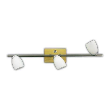 Rampa QUART 3xG9 matný chrom/světlé dřevo