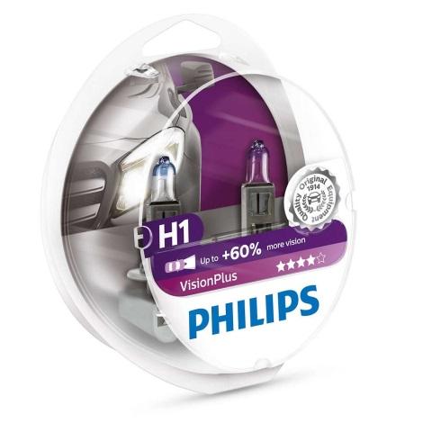 SADA 2x Autožárovka Philips VISION PLUS 12258VPS2 H1 P14,5s/55W/12V