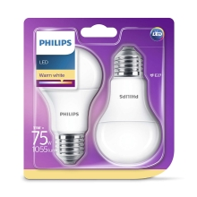 SADA 2x LED žárovka Philips E27/11W/230V