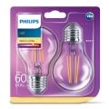 SADA 2x LED Žárovka VINTAGE Philips E27/7W/230V 2700K