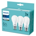 SADA 3x LED Žárovka Philips A60 E27/9W/230V 4000K