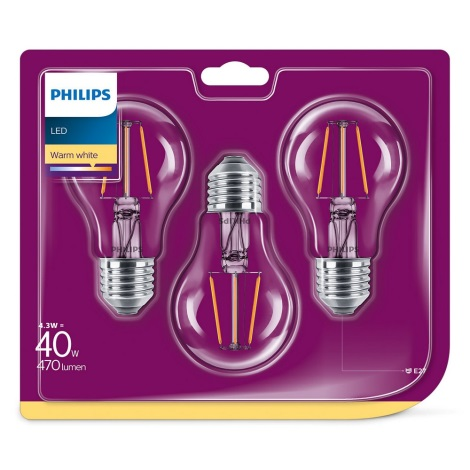SADA 3x LED Žárovka Philips E27/4,3W/230V