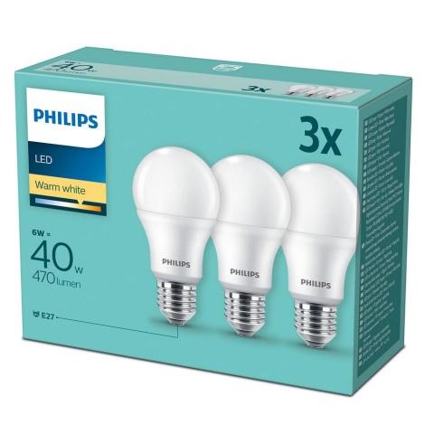 SADA 3x LED Žárovka Philips E27/6W/230V 2700K