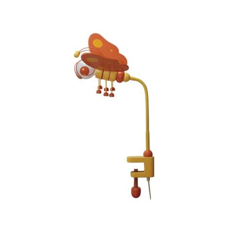 Stolní lampa MOTÝL oranžová/žlutá/dřevo