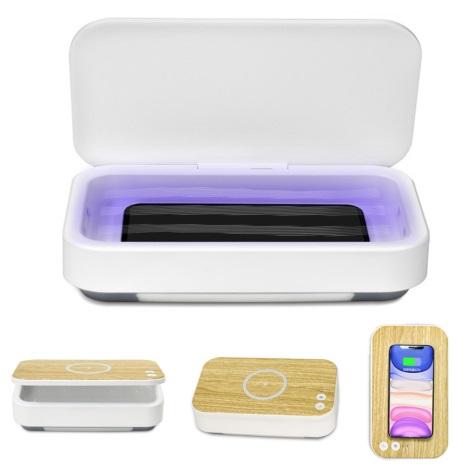 UV Sterilizátor pro respirátory a drobné předměty + Qi nabíjení 10W/9V
